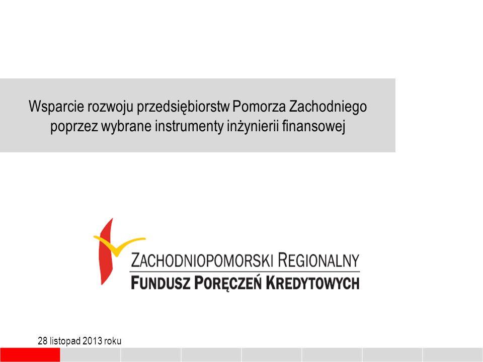 Wsparcie rozwoju przedsiębiorstw Pomorza Zachodniego poprzez wybrane instrumenty inżynierii finansowej 28 listopad 2013 roku