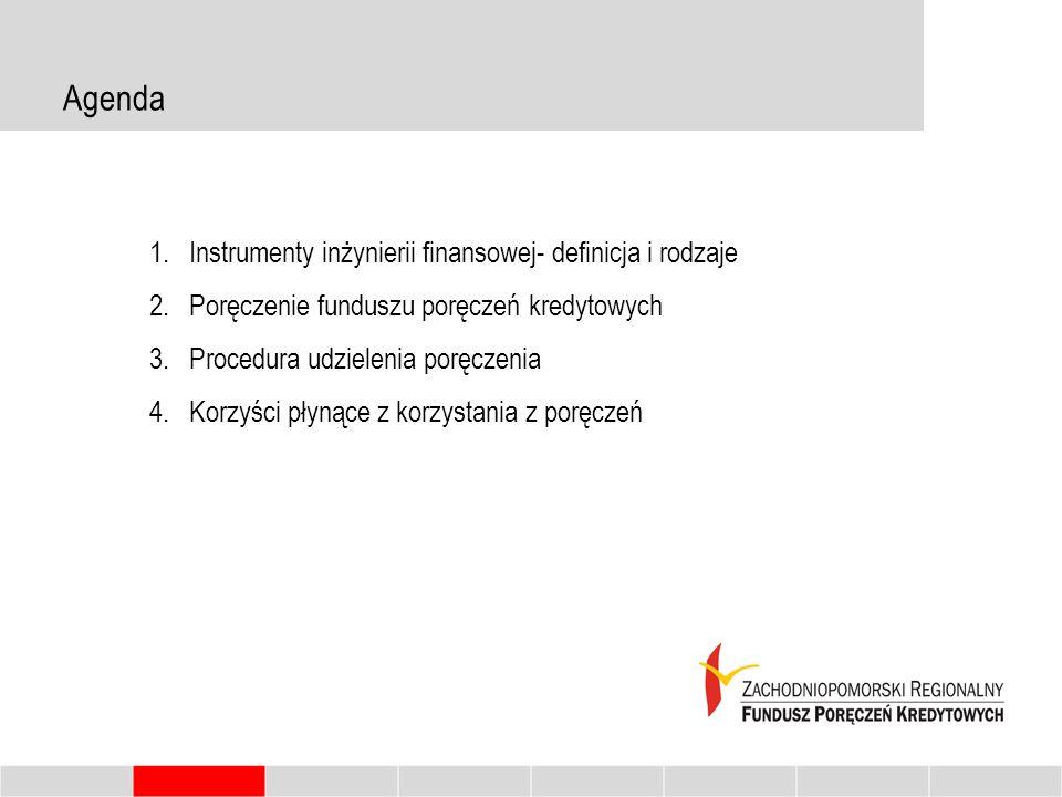 Agenda 1.Instrumenty inżynierii finansowej- definicja i rodzaje 2.Poręczenie funduszu poręczeń kredytowych 3.Procedura udzielenia poręczenia 4.Korzyśc