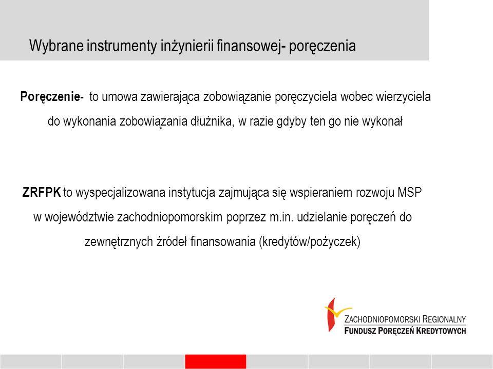 Wybrane instrumenty inżynierii finansowej- poręczenia Poręczenie- to umowa zawierająca zobowiązanie poręczyciela wobec wierzyciela do wykonania zobowiązania dłużnika, w razie gdyby ten go nie wykonał ZRFPK to wyspecjalizowana instytucja zajmująca się wspieraniem rozwoju MSP w województwie zachodniopomorskim poprzez m.in.