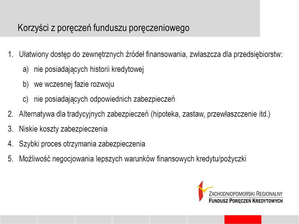 Korzyści z poręczeń funduszu poręczeniowego 1.Ułatwiony dostęp do zewnętrznych źródeł finansowania, zwłaszcza dla przedsiębiorstw: a)nie posiadających