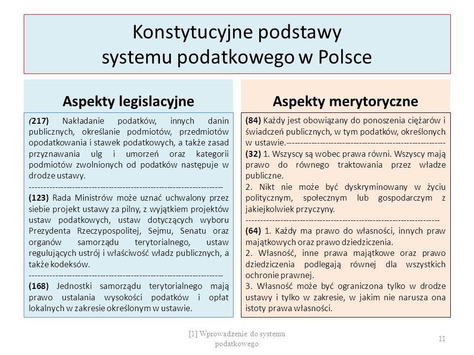 Konstytucyjne podstawy systemu podatkowego w Polsce Aspekty legislacyjne ( 217) Nakładanie podatków, innych danin publicznych, określanie podmiotów, przedmiotów opodatkowania i stawek podatkowych, a także zasad przyznawania ulg i umorzeń oraz kategorii podmiotów zwolnionych od podatków następuje w drodze ustawy.