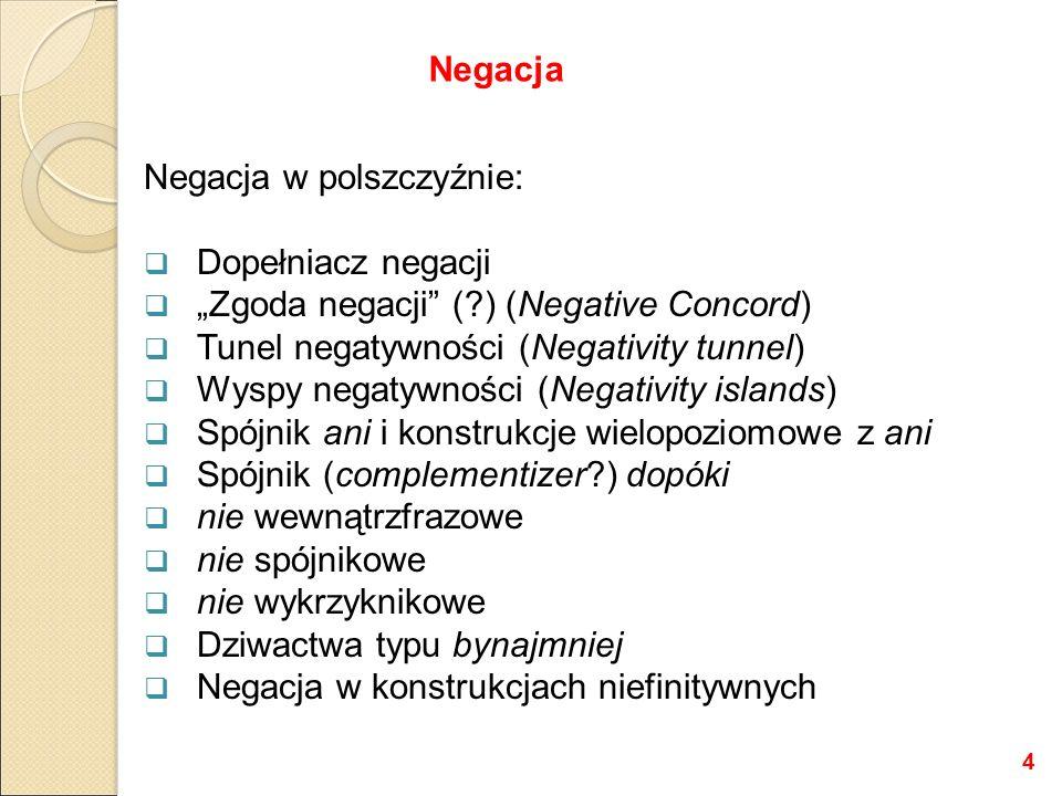 """Negacja w polszczyźnie:  Dopełniacz negacji  """"Zgoda negacji ( ) (Negative Concord)  Tunel negatywności (Negativity tunnel)  Wyspy negatywności (Negativity islands)  Spójnik ani i konstrukcje wielopoziomowe z ani  Spójnik (complementizer ) dopóki  nie wewnątrzfrazowe  nie spójnikowe  nie wykrzyknikowe  Dziwactwa typu bynajmniej  Negacja w konstrukcjach niefinitywnych Negacja 4"""