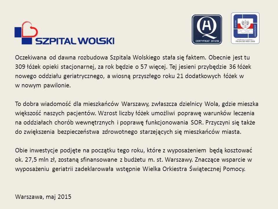 Oczekiwana od dawna rozbudowa Szpitala Wolskiego stała się faktem. Obecnie jest tu 309 łóżek opieki stacjonarnej, za rok będzie o 57 więcej. Tej jesie