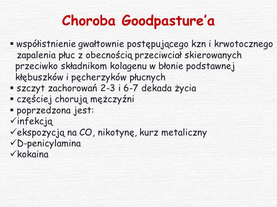 Choroba Goodpasture'a  współistnienie gwałtownie postępującego kzn i krwotocznego zapalenia płuc z obecnością przeciwciał skierowanych przeciwko skła
