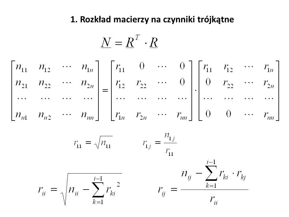 Obliczanie odwrotności macierzy normalnej: 1.Klasycznie – przez rozkład macierzy na czynniki trójkątne.