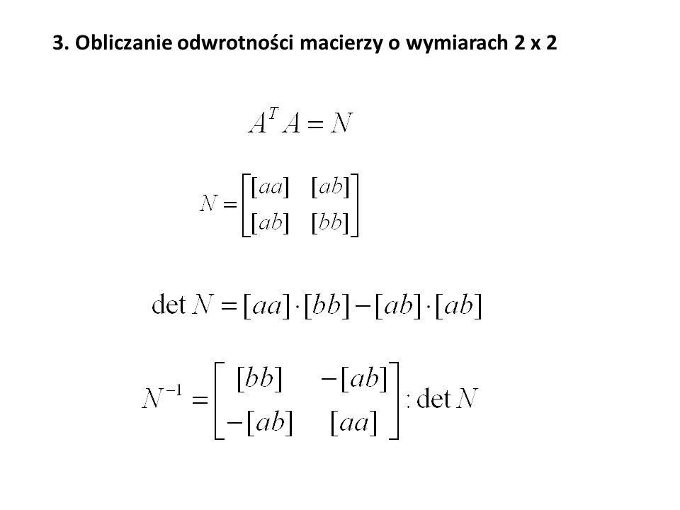 Po zaznaczeniu obszaru wynikowego wywołujemy funkcję MACIERZ.ODW, wpisujemy nazwę macierzy odwracanej N, po czym naciskamy klawisze Ctrl+Shift+Enter