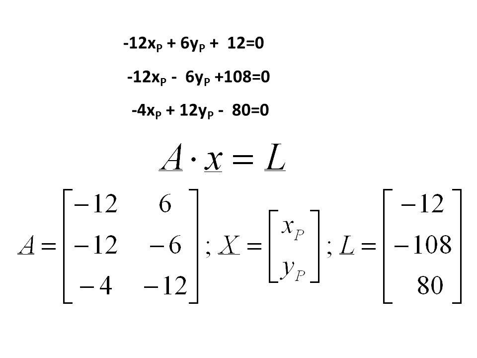 Równanie prostej: P1-P2: -12x P + 6y P + 12=0 P3-P4: -12x P - 6y P +108=0 P5-P6: -4x P + 12y P - 80=0