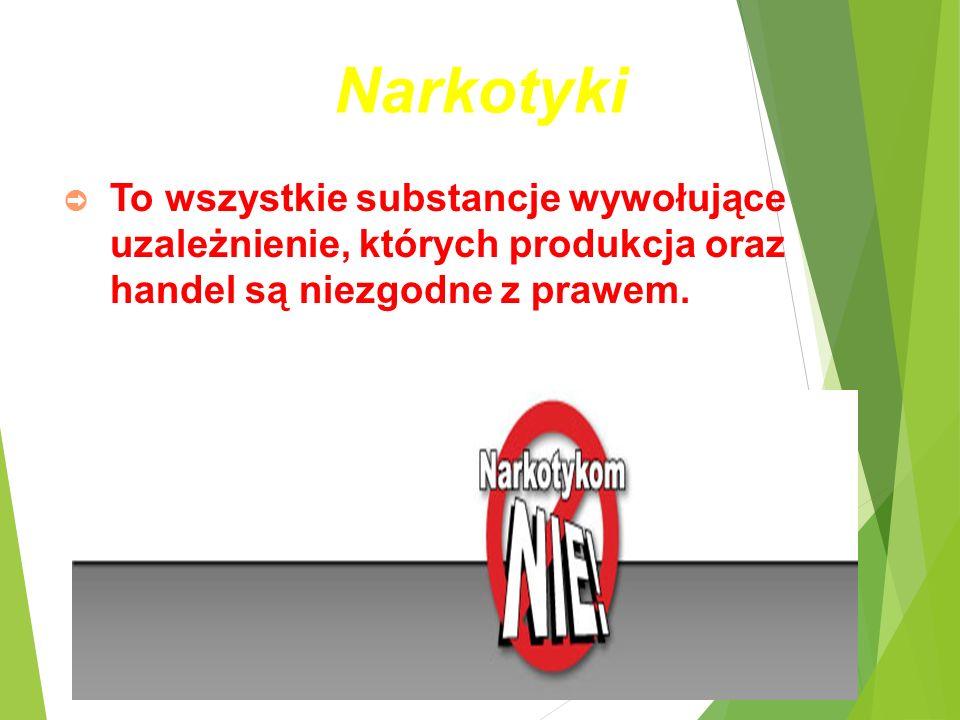 Narkotyki ➲ To wszystkie substancje wywołujące uzależnienie, których produkcja oraz handel są niezgodne z prawem.