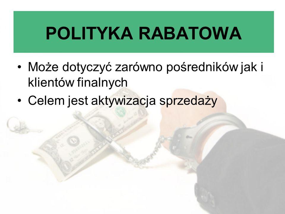 POLITYKA RABATOWA Może dotyczyć zarówno pośredników jak i klientów finalnych Celem jest aktywizacja sprzedaży