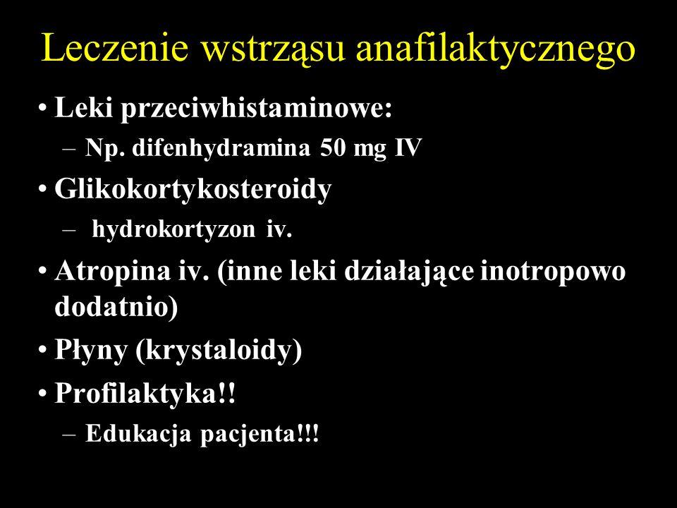 Leczenie wstrząsu anafilaktycznego Leki przeciwhistaminowe: –Np.