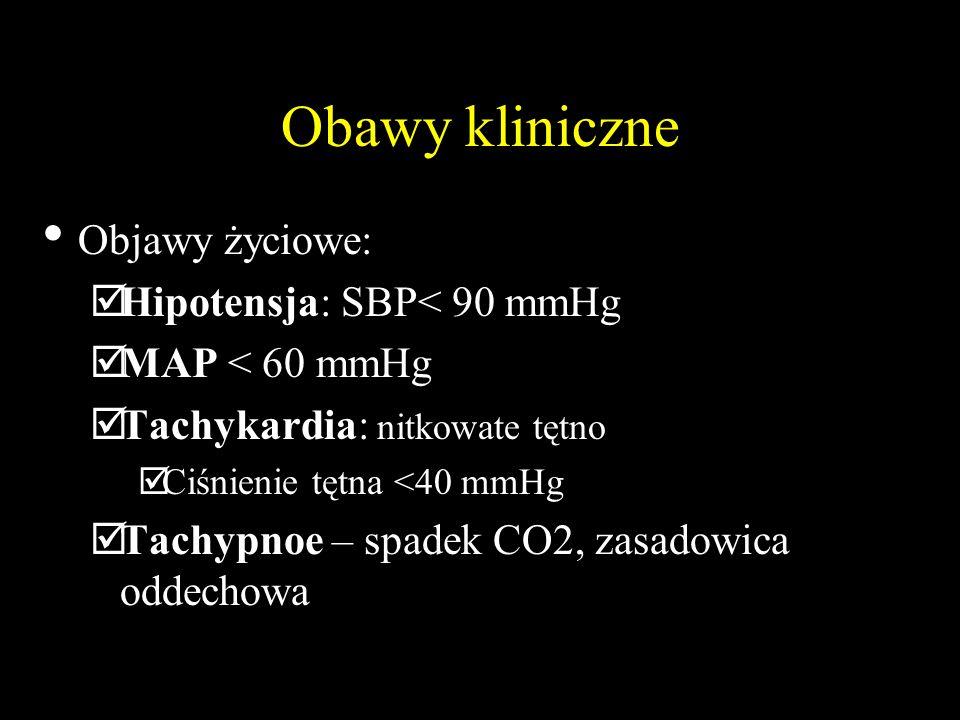 Obawy kliniczne Objawy życiowe:  Hipotensja: SBP< 90 mmHg  MAP < 60 mmHg  Tachykardia: nitkowate tętno  Ciśnienie tętna <40 mmHg  Tachypnoe – spadek CO2, zasadowica oddechowa