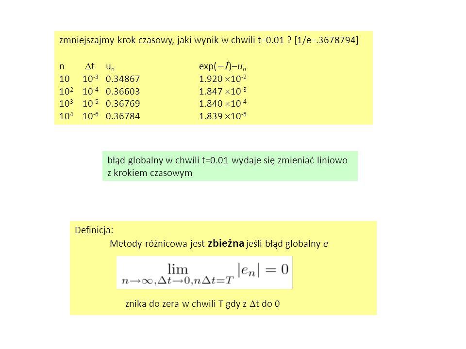 Definicja: Metody różnicowa jest zbieżna jeśli błąd globalny e znika do zera w chwili T gdy z  t do 0 zmniejszajmy krok czasowy, jaki wynik w chwili t=0.01 .