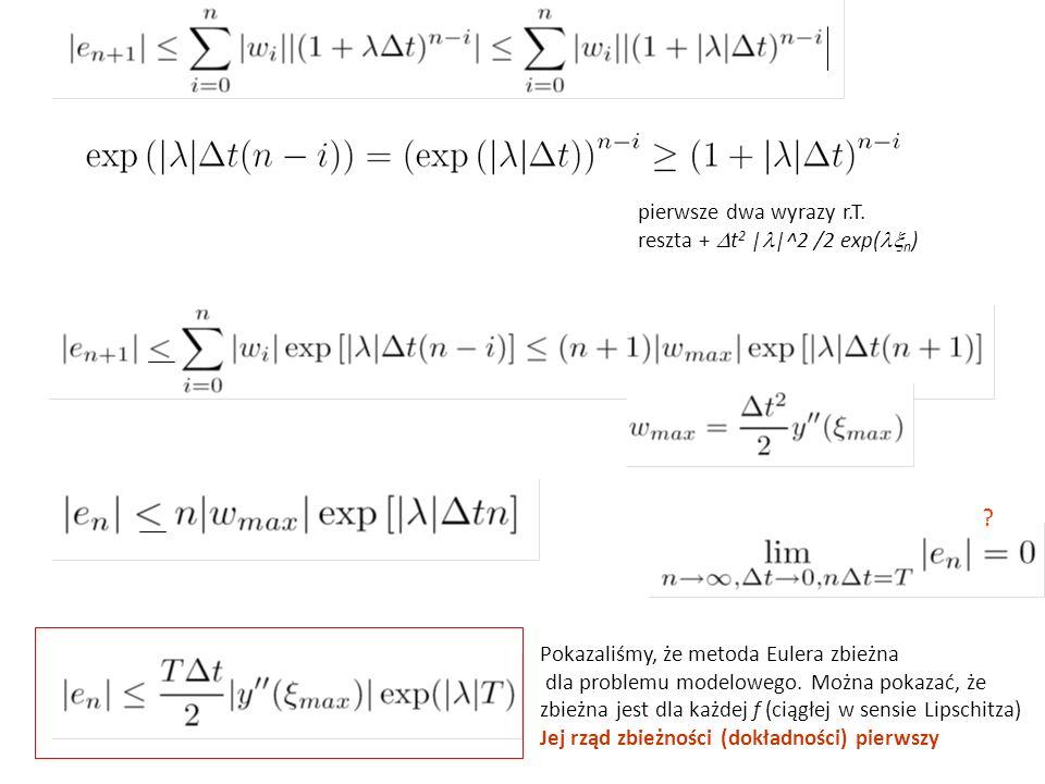 pierwsze dwa wyrazy r.T. reszta +  t 2 | |^2 /2 exp(  n ) .