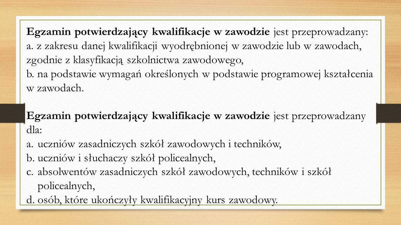 Egzamin potwierdzający kwalifikacje w zawodzie jest przeprowadzany: a. z zakresu danej kwalifikacji wyodrębnionej w zawodzie lub w zawodach, zgodnie z