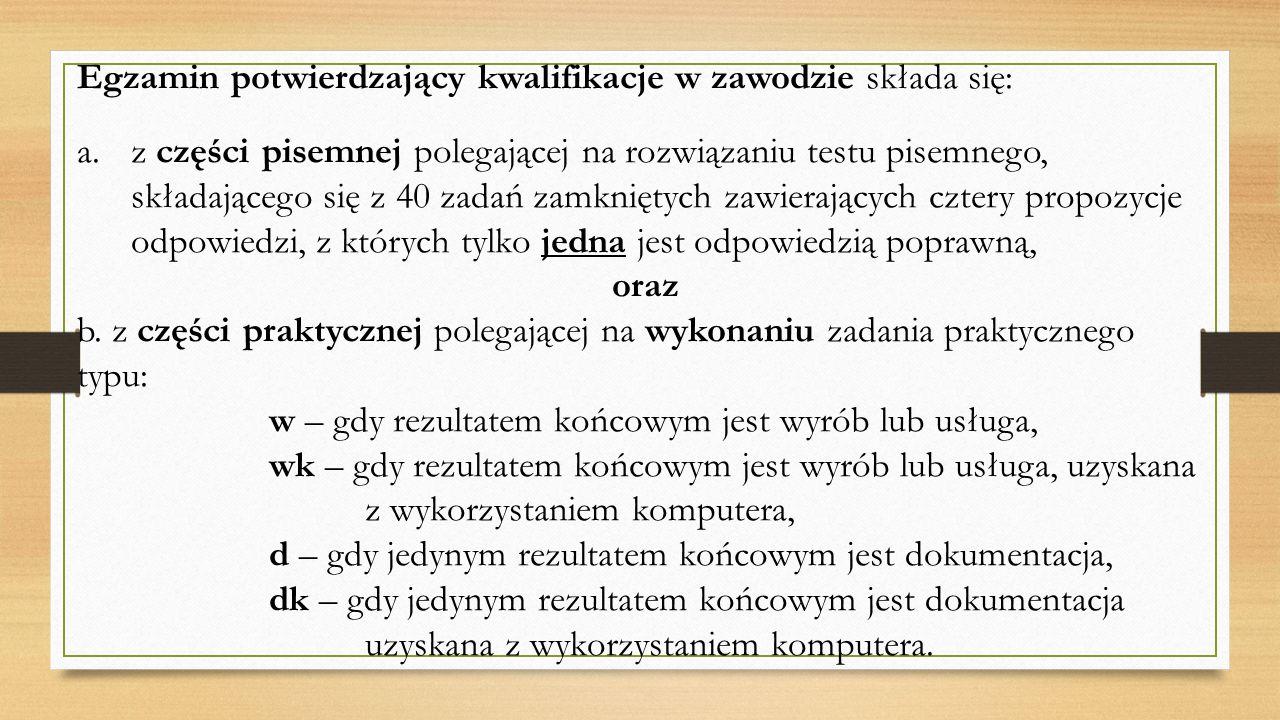 Egzamin potwierdzający kwalifikacje w zawodzie składa się: a.z części pisemnej polegającej na rozwiązaniu testu pisemnego, składającego się z 40 zadań