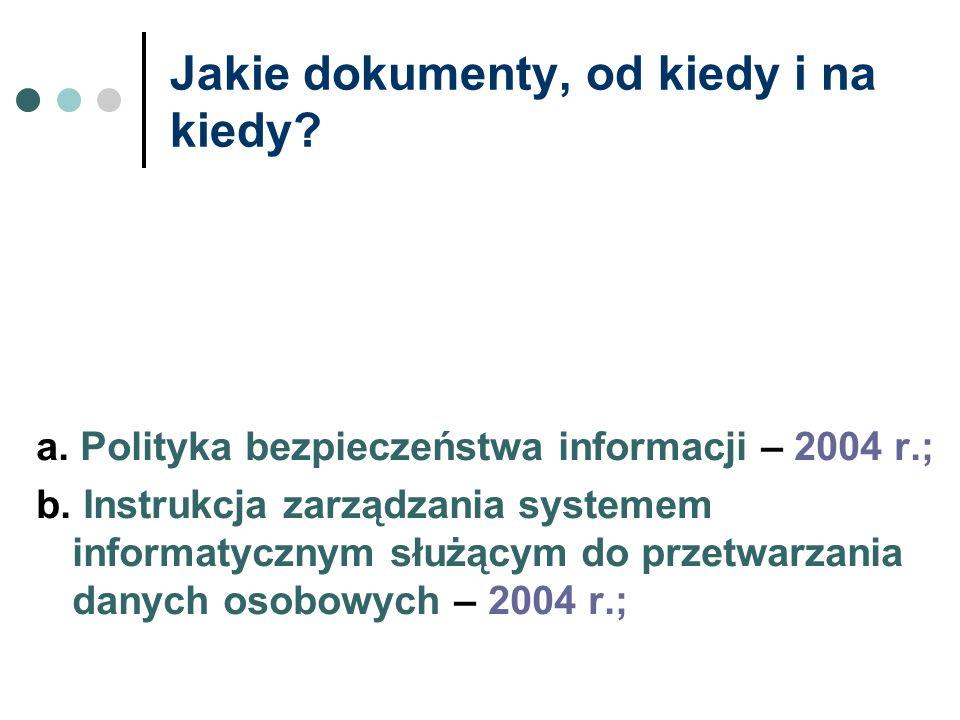 Jakie dokumenty, od kiedy i na kiedy? a. Polityka bezpieczeństwa informacji – 2004 r.; b. Instrukcja zarządzania systemem informatycznym służącym do p