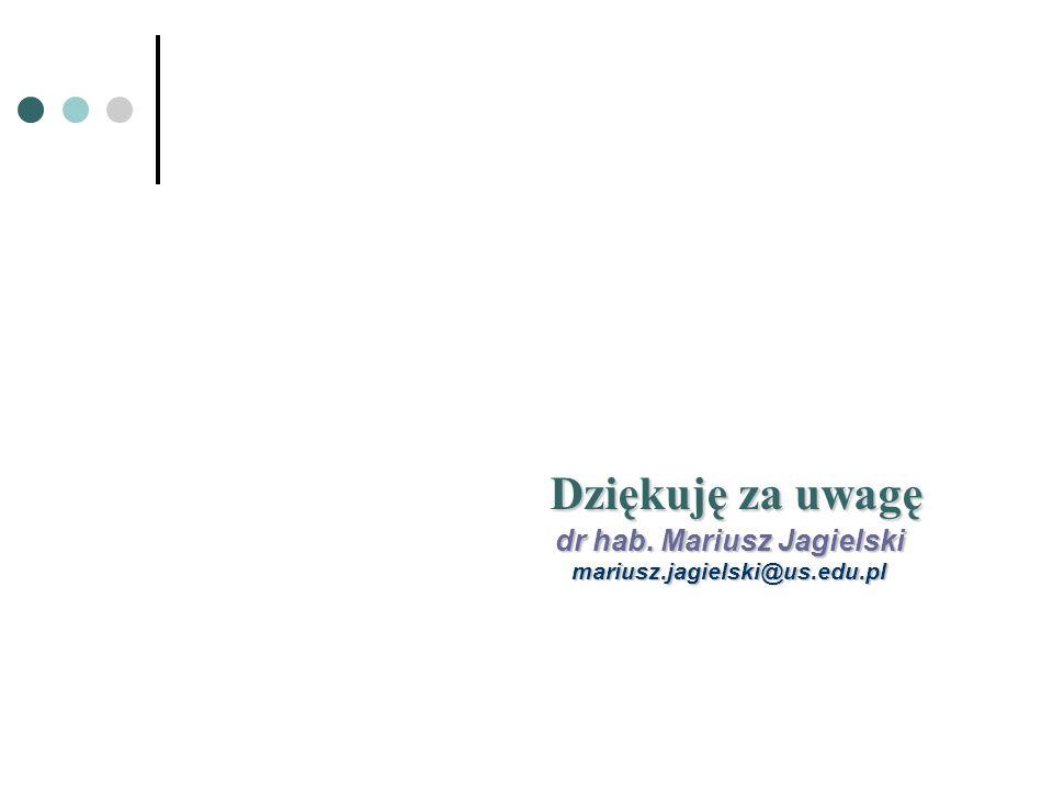 Dziękuję za uwagę Dziękuję za uwagę dr hab. Mariusz Jagielski mariusz.jagielski@us.edu.pl