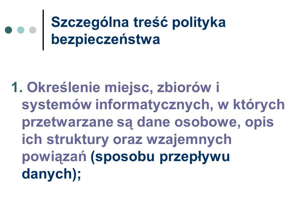 Szczególna treść polityka bezpieczeństwa 1. Określenie miejsc, zbiorów i systemów informatycznych, w których przetwarzane są dane osobowe, opis ich st