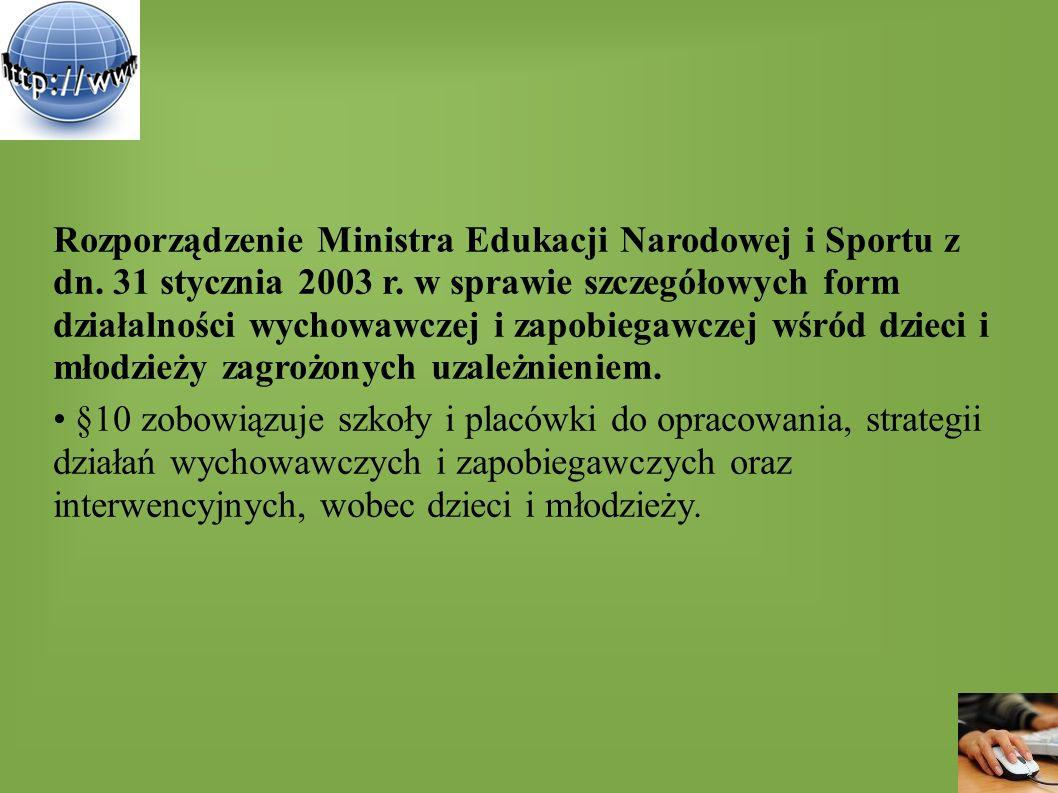 Rozporządzenie Ministra Edukacji Narodowej i Sportu z dn. 31 stycznia 2003 r. w sprawie szczegółowych form działalności wychowawczej i zapobiegawczej