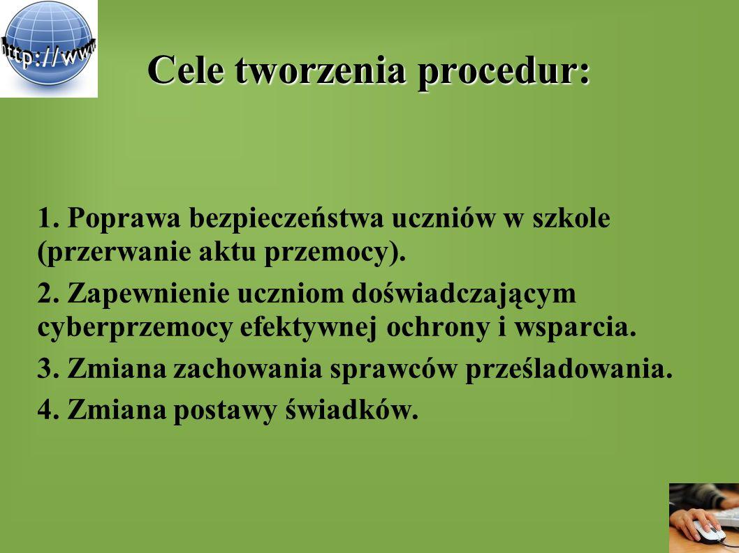Cele tworzenia procedur: 1. Poprawa bezpieczeństwa uczniów w szkole (przerwanie aktu przemocy). 2. Zapewnienie uczniom doświadczającym cyberprzemocy e
