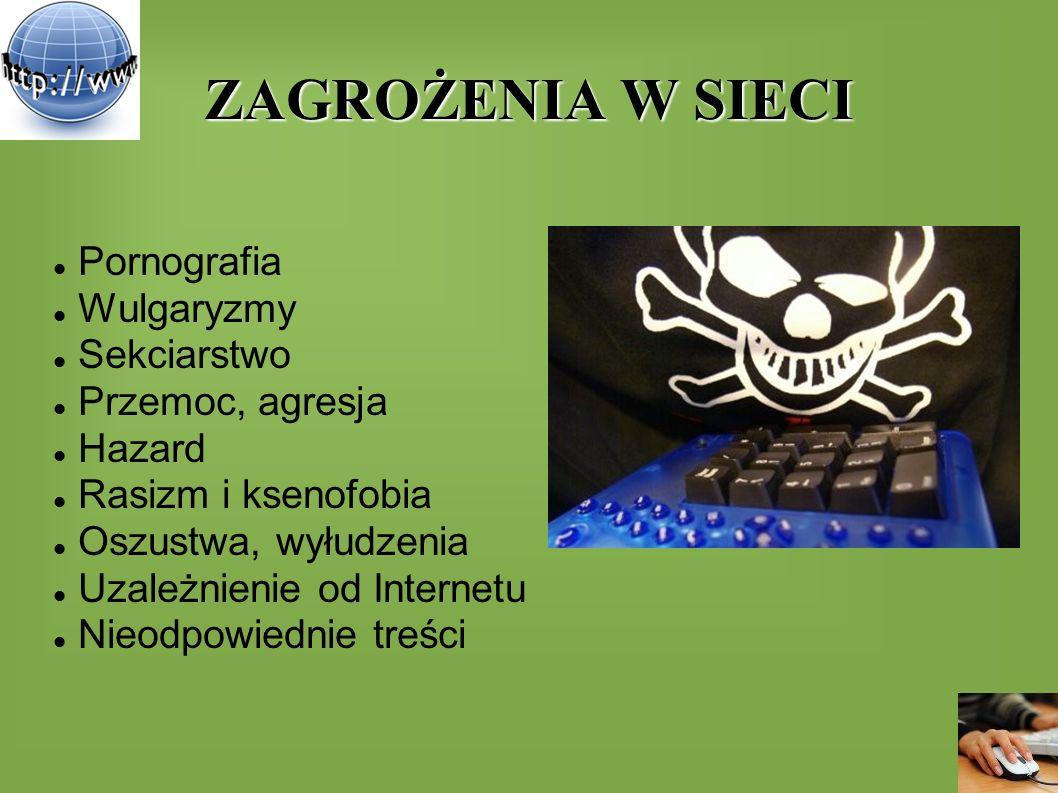 ZAGROŻENIA W SIECI Pornografia Wulgaryzmy Sekciarstwo Przemoc, agresja Hazard Rasizm i ksenofobia Oszustwa, wyłudzenia Uzależnienie od Internetu Nieod