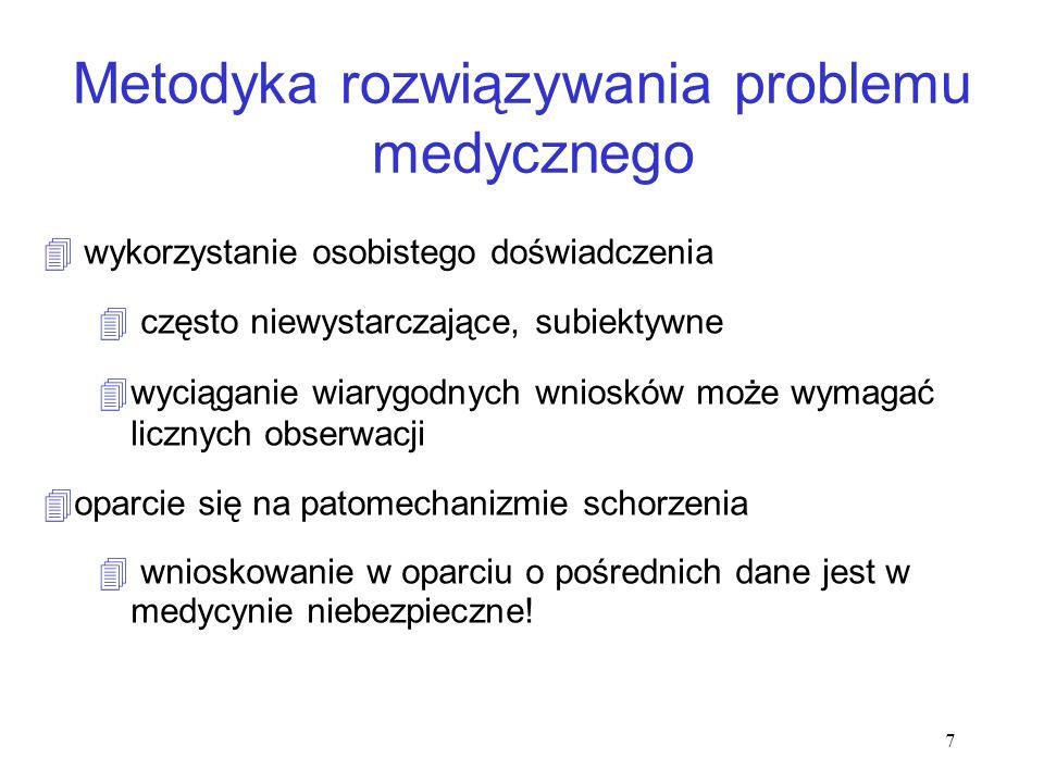7 Metodyka rozwiązywania problemu medycznego 4 wykorzystanie osobistego doświadczenia 4 często niewystarczające, subiektywne 4wyciąganie wiarygodnych