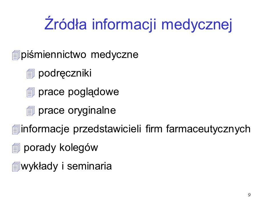 9 Źródła informacji medycznej 4piśmiennictwo medyczne 4 podręczniki 4 prace poglądowe 4 prace oryginalne 4informacje przedstawicieli firm farmaceutycz