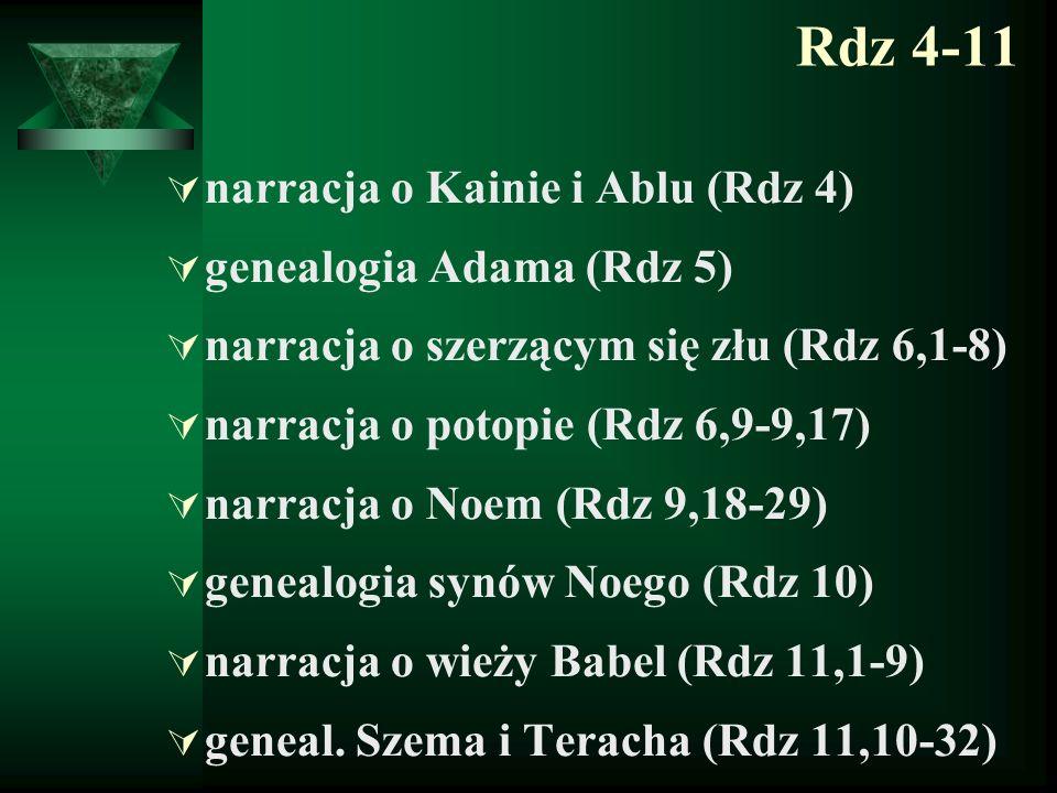 Rdz 4-11  narracja o Kainie i Ablu (Rdz 4)  genealogia Adama (Rdz 5)  narracja o szerzącym się złu (Rdz 6,1-8)  narracja o potopie (Rdz 6,9-9,17)
