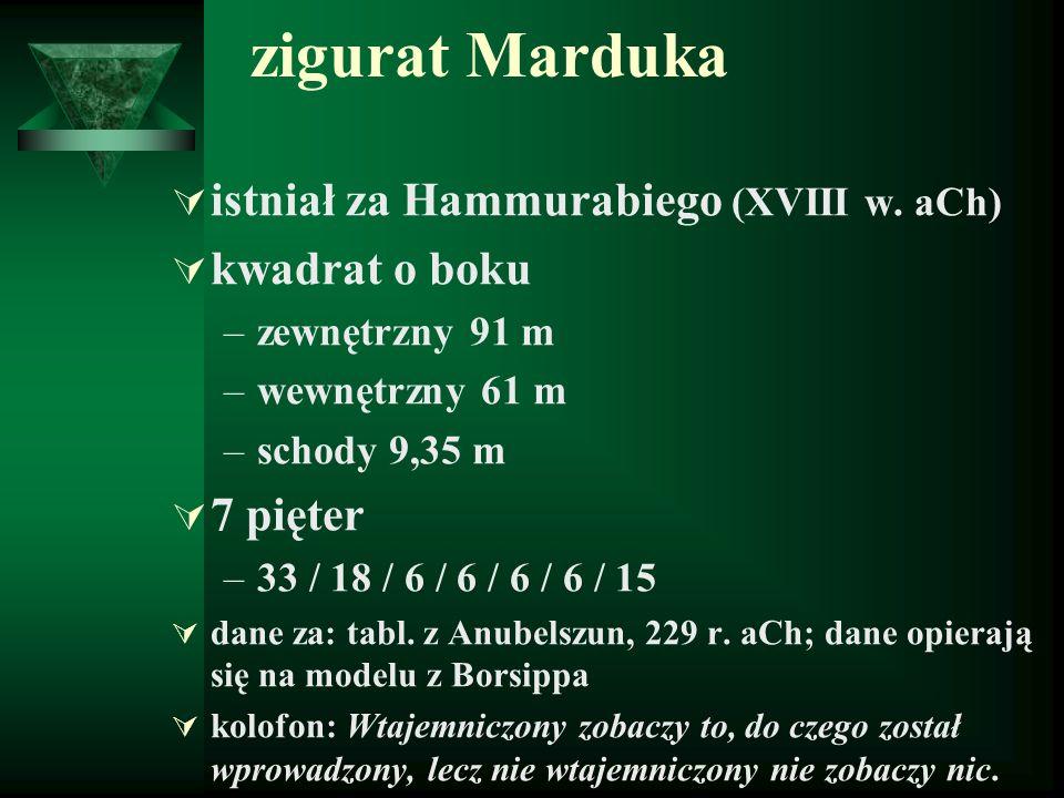 zigurat Marduka  istniał za Hammurabiego (XVIII w. aCh)  kwadrat o boku –zewnętrzny 91 m –wewnętrzny 61 m –schody 9,35 m  7 pięter –33 / 18 / 6 / 6