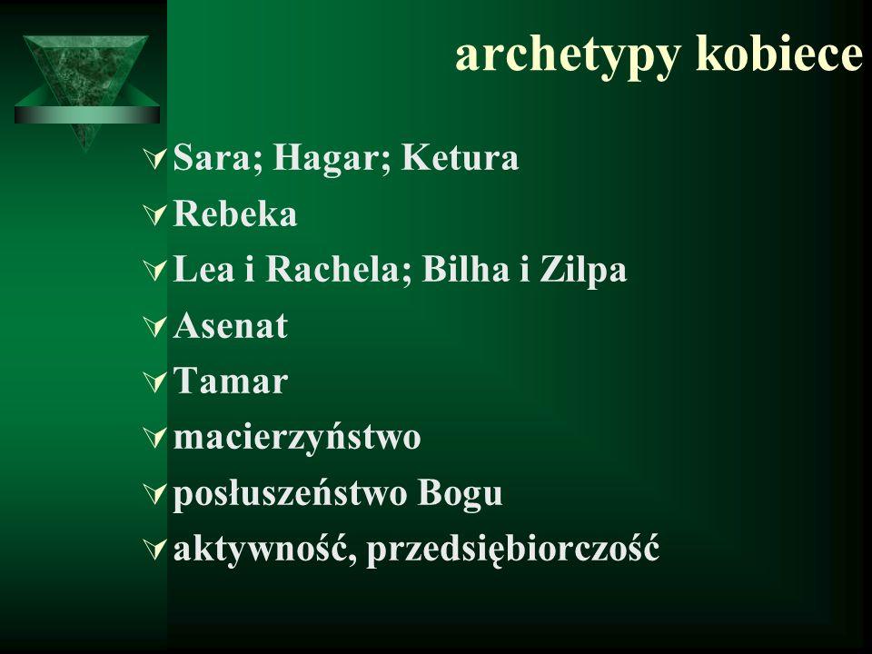 archetypy kobiece  Sara; Hagar; Ketura  Rebeka  Lea i Rachela; Bilha i Zilpa  Asenat  Tamar  macierzyństwo  posłuszeństwo Bogu  aktywność, prz