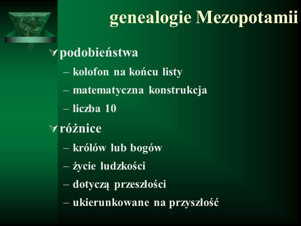 genealogie Mezopotamii  podobieństwa –kolofon na końcu listy –matematyczna konstrukcja –liczba 10  różnice –królów lub bogów –życie ludzkości –dotyc