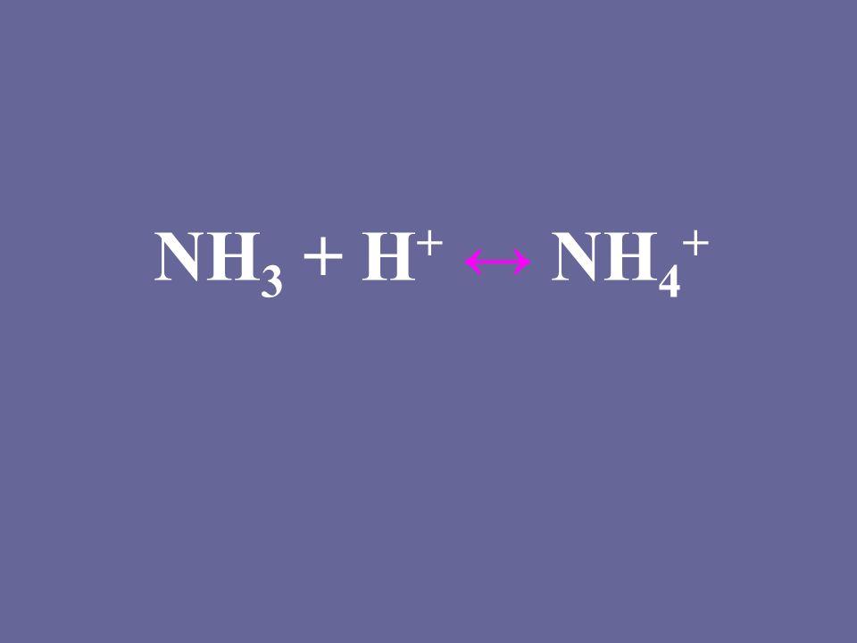 NH 3 + H + ↔ NH 4 +