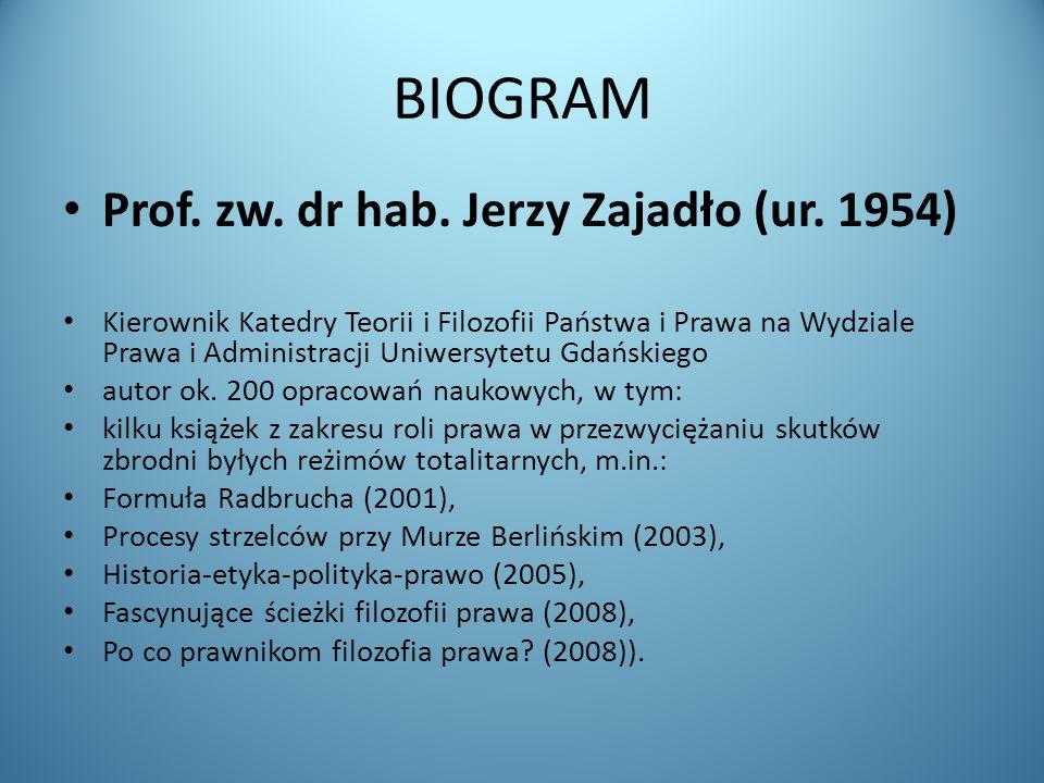 BIOGRAM Prof. zw. dr hab. Jerzy Zajadło (ur. 1954) Kierownik Katedry Teorii i Filozofii Państwa i Prawa na Wydziale Prawa i Administracji Uniwersytetu