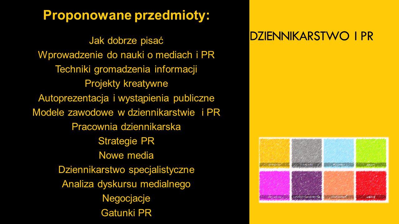 DZIENNIKARSTWO I PR Proponowane przedmioty: Jak dobrze pisać Wprowadzenie do nauki o mediach i PR Techniki gromadzenia informacji Projekty kreatywne Autoprezentacja i wystąpienia publiczne Modele zawodowe w dziennikarstwie i PR Pracownia dziennikarska Strategie PR Nowe media Dziennikarstwo specjalistyczne Analiza dyskursu medialnego Negocjacje Gatunki PR