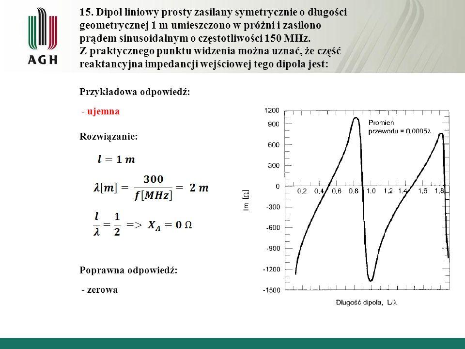 15. Dipol liniowy prosty zasilany symetrycznie o długości geometrycznej 1 m umieszczono w próżni i zasilono prądem sinusoidalnym o częstotliwości 150