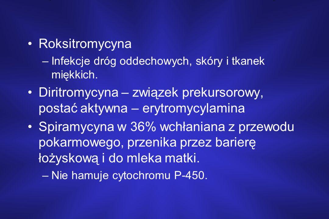 Roksitromycyna –Infekcje dróg oddechowych, skóry i tkanek miękkich. Diritromycyna – związek prekursorowy, postać aktywna – erytromycylamina Spiramycyn