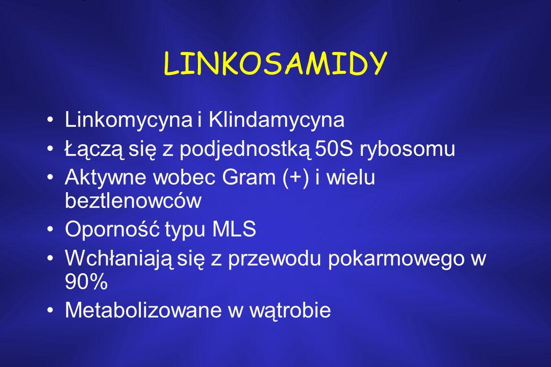 LINKOSAMIDY Linkomycyna i Klindamycyna Łączą się z podjednostką 50S rybosomu Aktywne wobec Gram (+) i wielu beztlenowców Oporność typu MLS Wchłaniają się z przewodu pokarmowego w 90% Metabolizowane w wątrobie