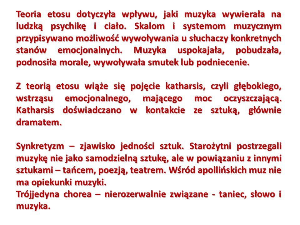 Z okresu hellenistycznego pochodzą zabytki 3 hymny Mesomedesa https://www.youtube.com/watch?v=_Pjqt7opZLs Hymn do Apollina https://www.youtube.com/watch?v=bydqNRYgbuc Fragment z Orestei Eurypidesa https://www.youtube.com/watch?v=n_7kBVjzVVU Skolion – pieśń odnaleziona na nagrobku Seikilosa w Azji Mniejszej https://www.youtube.com/watch?v=KjHNEbVKIGk