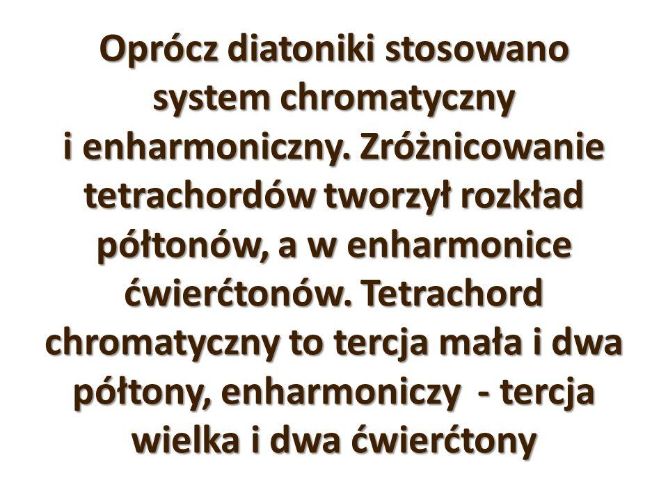Oprócz diatoniki stosowano system chromatyczny i enharmoniczny. Zróżnicowanie tetrachordów tworzył rozkład półtonów, a w enharmonice ćwierćtonów. Tetr
