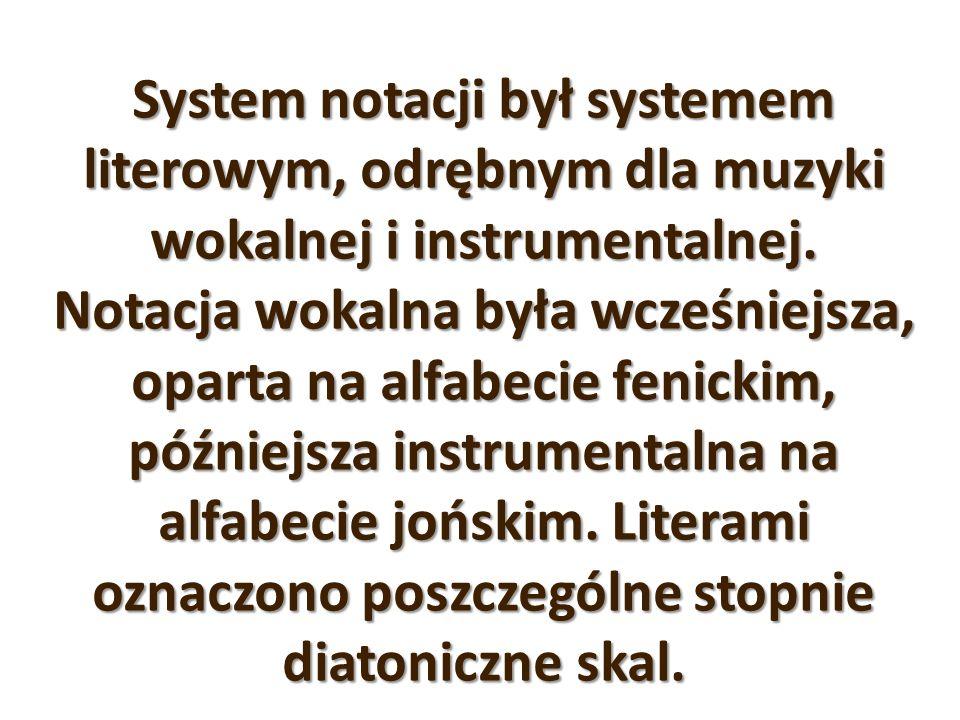 System notacji był systemem literowym, odrębnym dla muzyki wokalnej i instrumentalnej. Notacja wokalna była wcześniejsza, oparta na alfabecie fenickim