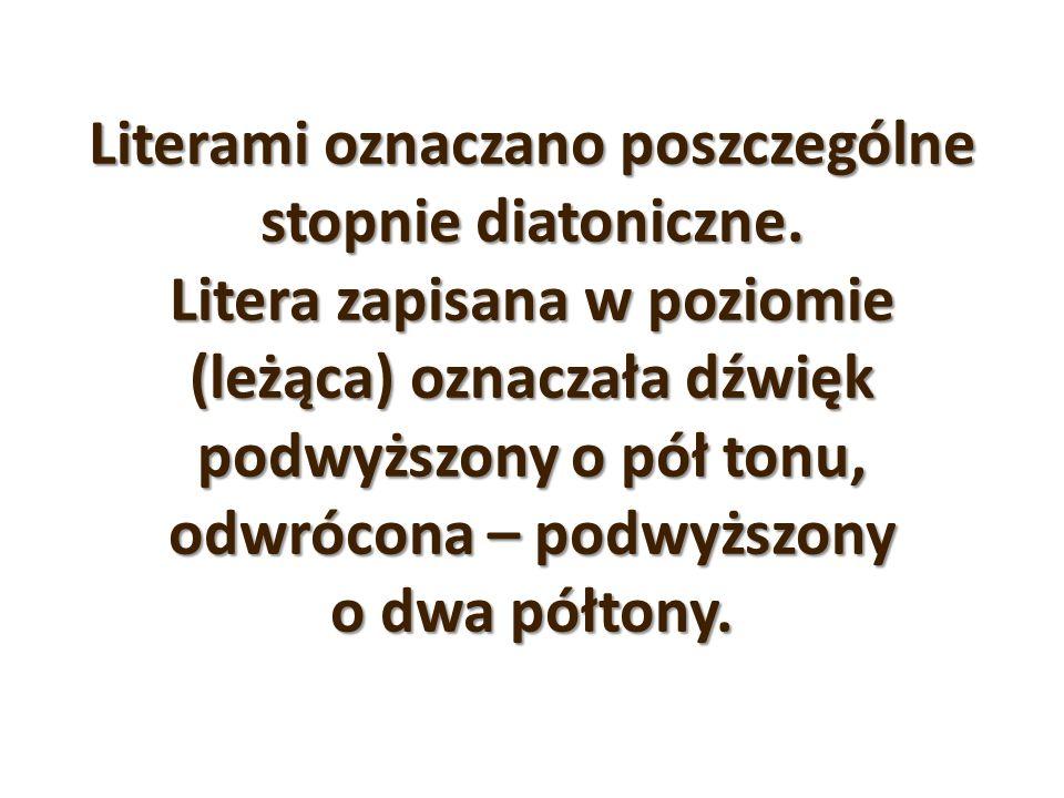Literami oznaczano poszczególne stopnie diatoniczne. Litera zapisana w poziomie (leżąca) oznaczała dźwięk podwyższony o pół tonu, odwrócona – podwyższ