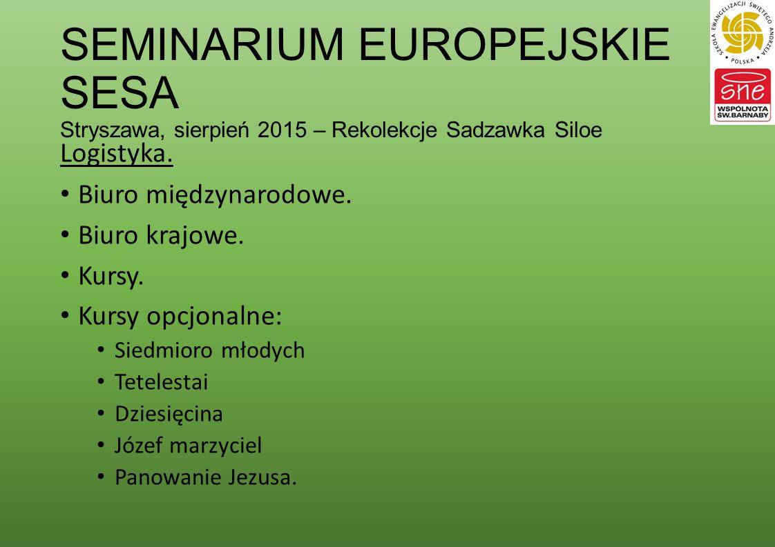 SEMINARIUM EUROPEJSKIE SESA Stryszawa, sierpień 2015 – Rekolekcje Sadzawka Siloe