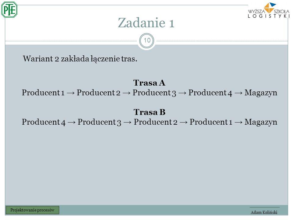 Zadanie 1 10 Adam Koliński Projektowanie procesów Wariant 2 zakłada łączenie tras.