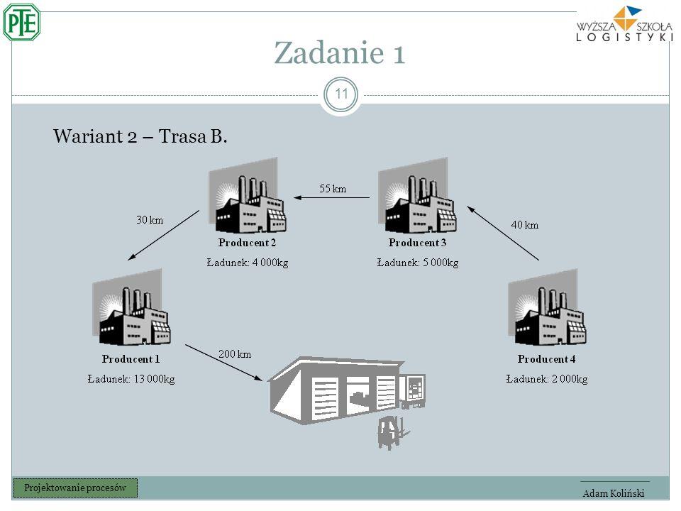 Zadanie 1 11 Adam Koliński Projektowanie procesów Wariant 2 – Trasa B.
