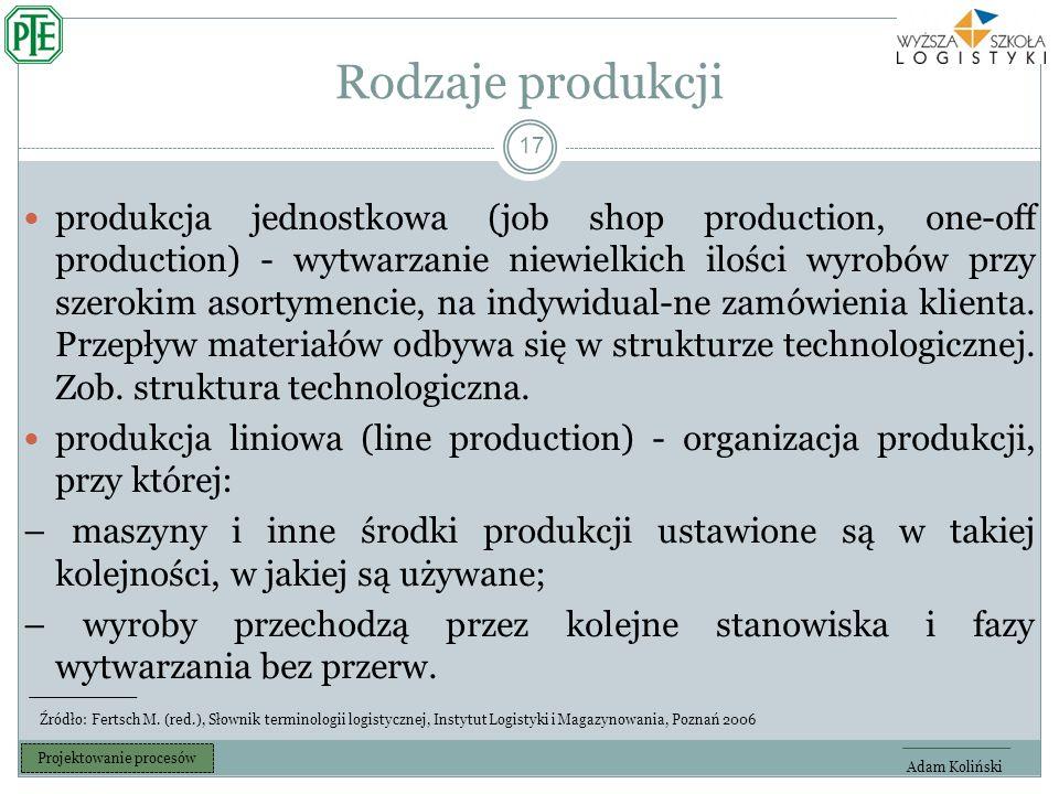 Rodzaje produkcji 17 produkcja jednostkowa (job shop production, one-off production) - wytwarzanie niewielkich ilości wyrobów przy szerokim asortymencie, na indywidual-ne zamówienia klienta.