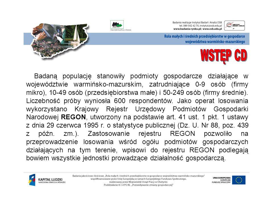 Badaną populację stanowiły podmioty gospodarcze działające w województwie warmińsko-mazurskim, zatrudniające 0-9 osób (firmy mikro), 10-49 osób (przed