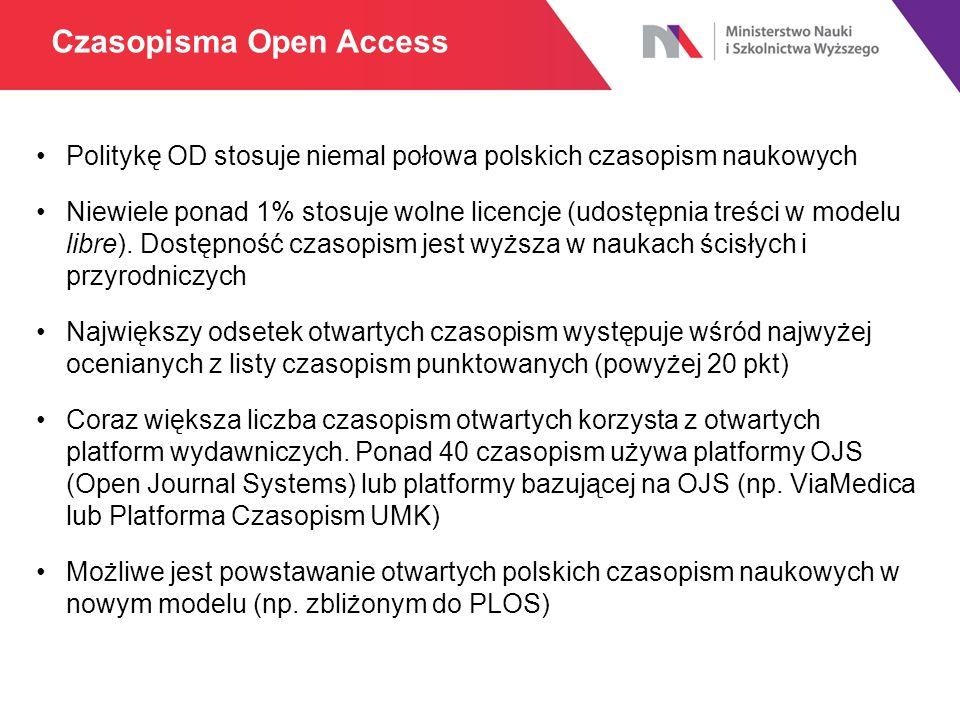Politykę OD stosuje niemal połowa polskich czasopism naukowych Niewiele ponad 1% stosuje wolne licencje (udostępnia treści w modelu libre). Dostępność