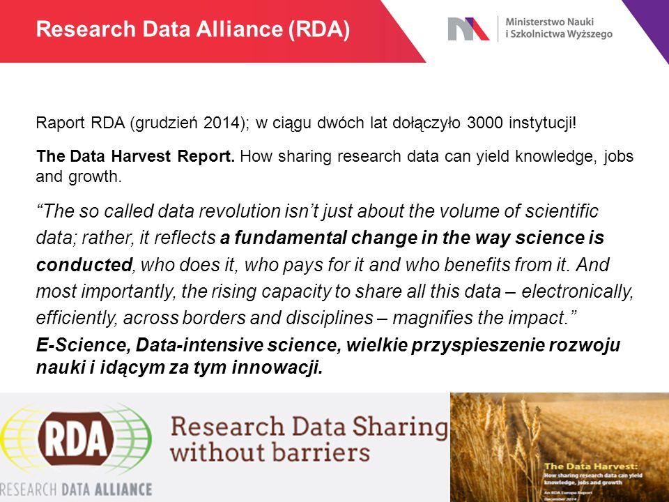 Raport RDA (grudzień 2014); w ciągu dwóch lat dołączyło 3000 instytucji! The Data Harvest Report. How sharing research data can yield knowledge, jobs