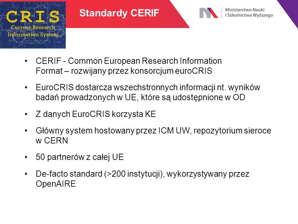 Standardy CERIF CERIF - Common European Research Information Format – rozwijany przez konsorcjum euroCRIS EuroCRIS dostarcza wszechstronnych informacj