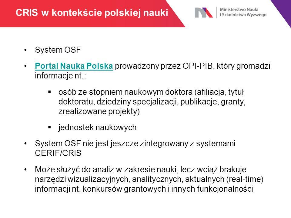 CRIS w kontekście polskiej nauki System OSF Portal Nauka Polska prowadzony przez OPI-PIB, który gromadzi informacje nt.:Portal Nauka Polska  osób ze stopniem naukowym doktora (afiliacja, tytuł doktoratu, dziedziny specjalizacji, publikacje, granty, zrealizowane projekty)  jednostek naukowych System OSF nie jest jeszcze zintegrowany z systemami CERIF/CRIS Może służyć do analiz w zakresie nauki, lecz wciąż brakuje narzędzi wizualizacyjnych, analitycznych, aktualnych (real-time) informacji nt.